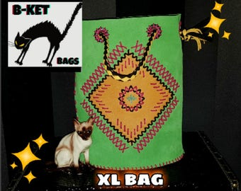 chimayo mexican handmade leather repro vintage XL bag rockabilly