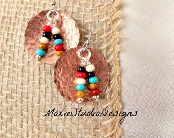 Southwest Boho Earrings, Hammered Copper Earrings, Copper Artisan Earrings, Copper Dangle Earrings, Southwestern Style Earrings