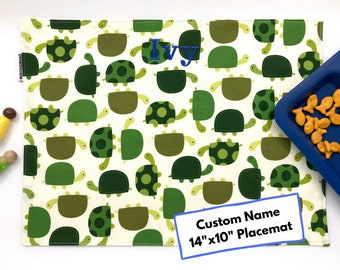 Kids Placemat Personalized (Turtle Placemat, Kids Mealtime Place Mat, For Children, Montessori Lunch, Fabric Placemat, Gift Under 20)