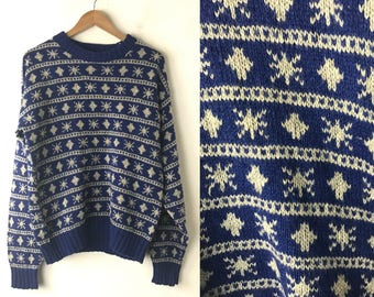 80s Blue & White Snowflake Sweater Mens Medium, Winter Sweater, Wool Blend Sweater, Crew Neck Sweater, Pullover Sweater, Snowflak,Cedar Bend
