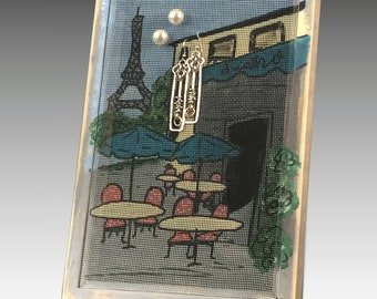 Stud Earring Holder for Pierced Earrings. Freestanding Wood Frame Jewelry Organizer. Paris Bistro Jewelry Holder Hand Painted on Screen.