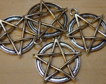 """Pentagram Pendants / Charms, Silver / Bronze Tone 1.25"""" (pagan, wiccan, witch, witchy, goth, pentacle)"""