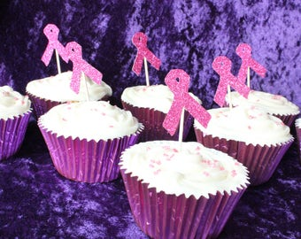 Cancer Research Pink Ribbon Cake Topper, Set of 12, 50p donated to Cancer Research