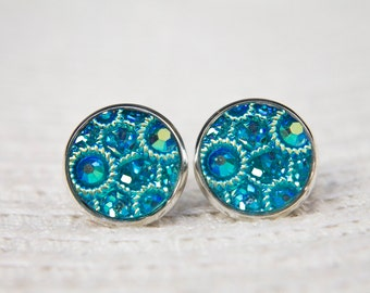 Aqua Blue Earrings,  Turquoise Earrings,  Jewel Faux Druzy, Sparkle Earrings, Aqua Blue Studs, Turquoise Studs, Blue Faux Druzy, Studs