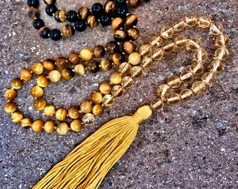 108 Black Onyx,Tiger Eye,Golden Tiger Eye,Citrine,Yoga Mala Necklace, Handmade Cotton Tassel. Vegan mala.