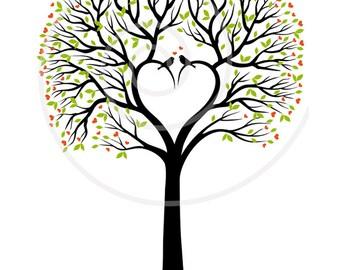 Heart wedding tree digital clipart, wedding invitation, guest book, wedding anniversary, printable art print, EPS, SVG, instant download