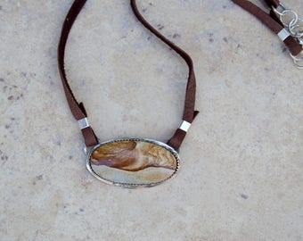 Sterling Fancy Jasper. Handmade . Rustic . Hand Forged. Soft Leather . Rustic Necklace