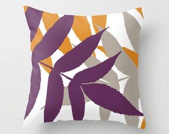 Modern Botanical Leaf Pillow Cover - Eggplant Purple Orange - Modern Home Decor - Autumn Fall Decor - includes insert
