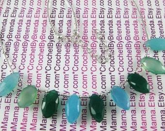 Oceana Blue Green Marquise Briolette Adjustable Choker Necklace