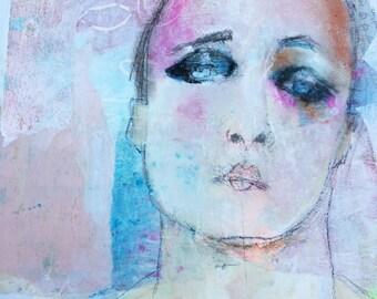 Original Pastell-Portrait-Mixed-Media-Portrait - Home Dekor - Pastelle Wand Kunst