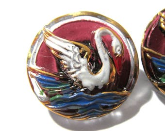 Czech SWAN Button Hand Painted Glass Swan Czech Glass Button Two (2) Czech Glass Swan Bird Vintage Button Jewelry Supplies (Y320)