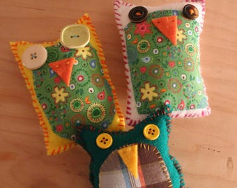 Patchwork Owls Set of Three