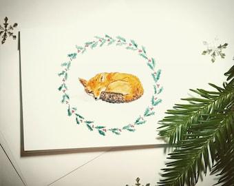 Sleeping Fox Holiday Card with Holly Border