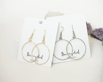 HANDMADE GOLD SILVER Hoop Earrings