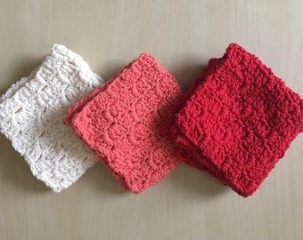 Set of 3 Washcloths // Handmade Crocheted 100% Cotton // Bath & Kitchen Towels