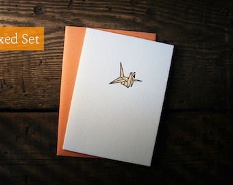 Letterpress Printed Origami Crane Cards (Orange)