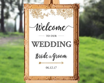 Wedding welcome sign - welcome to our wedding - PRINTABLE - 16x20 - 18x24 - 20x30 - 24x36