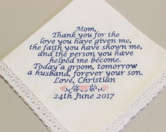 MOTHER Of The GROOM Handkerchief - From GROOM - Mom mog - Wedding - Hanky - Hankie - Today A Groom, Always Your Son