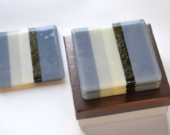 Set of Two Modern Fused Glass Coasters (Blue-Grey, Driftwood Grey, Cream, Gold)