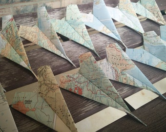 Vintage MAP Paper Airplanes. Escort Cards, Wedding Decoration, Party, Birthday, Travel Wedding. Favor, Name Tag. CUSTOM ORDERS Welcome.