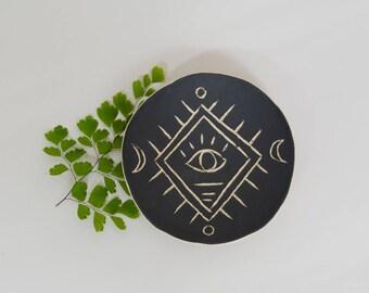 Moderne Boho Ring Schale Keramik Ring Schale Keramik Schale ~ Schmuck Schale schwarz und weiß Keramik Teller Schmuck Schale Keramik Teller Ring Display