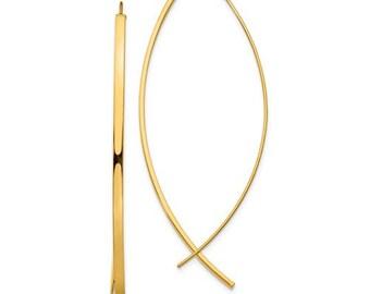 14K Yellow Gold Modern Minimalist Classic Wire Hoop Earrings 57mm x 22mm x 1.75mm GU0897
