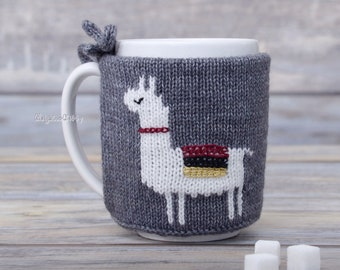 Llama lovers gift,  Tea sleeve, Cup warmer, Mug sweater, Knitted coffee mug cozy, Party favor,  Hot drink cosy, Animal print, Center piece