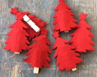 6 red Christmas tree Christmas tree fabric clip
