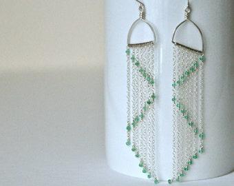 Extra Long Earrings- Sterling Silver Earrings- Emerald Earrings- Green Earrings- Zigzag Geometric Earrings- Emerald Green Earrings- Geometry