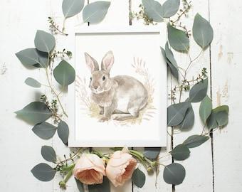 Easter Art Decor Pastel Bunny Art Print