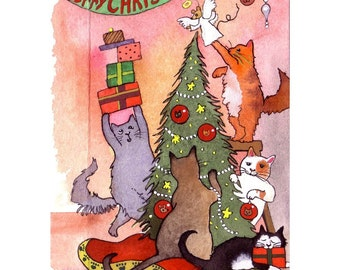Cat Christmas Greeting Card, Cat Christmas Card, Funny Christmas Cat Art, Cats Watercolor Painting Illustration Print