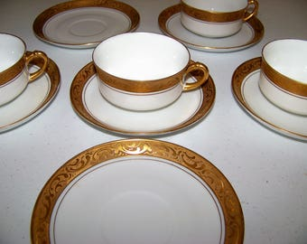 Heinrich H & Co Selb Bavaria 4 Cups And 6 Saucers