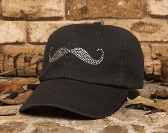 Mustache Washed Rhinestud Cap