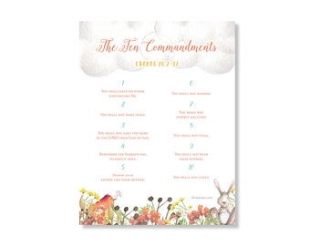 The Ten Commandments Watercolor Printable