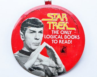 1986 Star Trek Spock Button, Metal Badge - Pocket Books Promotional Button - FREE USA SHIPPING