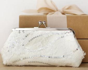 Silver Sequins Sakura Cherry Blossoms Lace Bridal Clutch, Bridesmaid Clutch, Mother of the Bride Groom Wedding Sequins Purse
