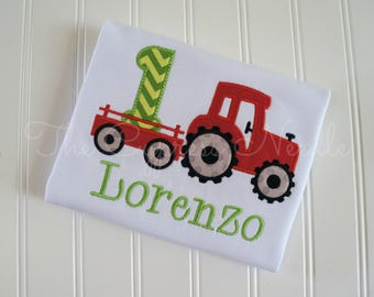 Tractor Birthday Shirt in Red and Green, Farm Birthday Shirt, Tractor First Birthday Shirt, Boys Tractor Birthday Shirt, Tractor Shirt