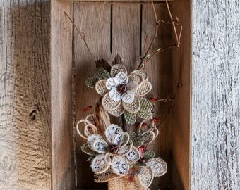 Rustic flowers box wall decor, Cottage and home decor, Old box rustic with burlap flowers, Rustic wall decor, Burlap rustic unique decor