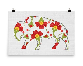 Buffalo Art, Woodland Animal Art, Animal Decor, Floral Prints, Buffalo Poster, Buffalo Print, Indigenous Prints, Flower Decor Print