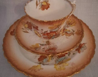 Vintage tea cup, saucer and cake plate (Aynsley, England)