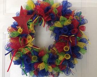 Happy birthday/ new baby primary colors wreath