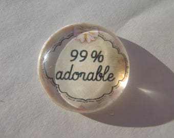 Cabochon 25 mm round domed with his adorable pink and white Plaid 99% writing image