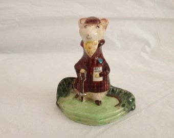 "Beswick Kitty MacBride ""The Racegoer"" 2528 ~ England ~ Ceramic Mouse with Race Card"
