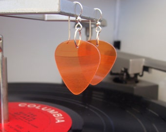 Orange Vinyl Record Earrings - Handmade Guitar Picks made from Vinyl Records - Fashion Gift for Rockers, Musicians - Hit Record Earrings