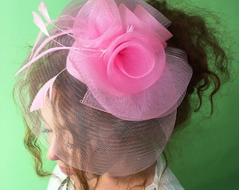 """Pink Fascinator - """"Pink rose"""" Couture British Hat Fascinator Headband with Feathers - Tea Party Hat - Kentucky Derby Hat - Costume Hat"""
