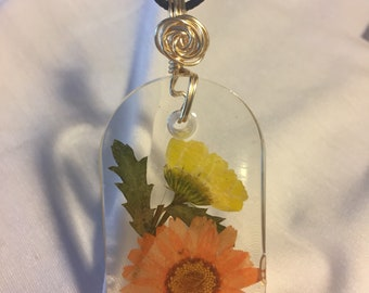 Floating Flowers in a resin Pendant, Orange and Yellow