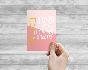 Greeting Card - Toasting the Bride and Groom | Hand Lettering, Thank You Card, Wedding Card, Birthday Card, Bday Card
