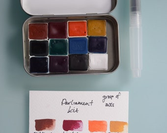 Watercolor handmade travel paint palette tin - PARLIAMENT KIT -waterbrush included