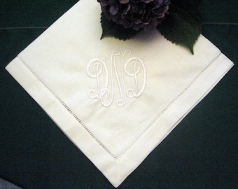 Monogrammed Hemstitched Linen Dinner Napkin Set of 12, 24 inch Cloth napkins