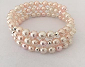Crystal Pearls and Silver Beads Memory Wire Bracelet